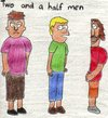 Cartoon: Two and a half men (small) by Salatdressing tagged two,and,half,men,fernsehen,serie,film,neu,modern,charlie,sheen,comedian,comedy