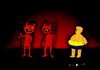Cartoon: from cry to laughing (small) by CIGDEM DEMIR tagged cry,laugh,hell,satan,people