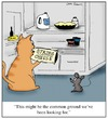 Cartoon: Common Ground (small) by Humoresque tagged cat,cats,owner,owners,mice,mouse,pet,pets,and,refrigerator,refrigerators,cheese,cheeses,string,strings,enemy,enemies,friend,friends,friendship,common,interest,interests,compromise,compromises,compromising,ground