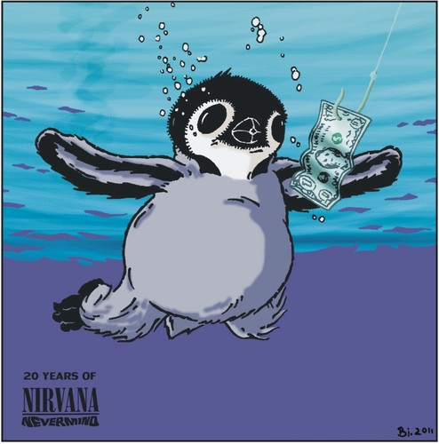Cartoon: 20th Anniversary of Nevermind (medium) by Penguin_guy tagged mtv,pop,sub,novoselic,chris,strip,comic,pole,penguins,grohl,dave,cobain,curt,baehr,thomas,anniversary,years,20,seattle,rock,punk,grunge,nevermind,nirvana