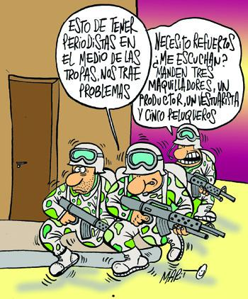 Cartoon: REPORTERO DE GUERRA (medium) by Mario Almaraz tagged soldados