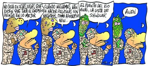 Cartoon: SOS MARINES (medium) by Mario Almaraz tagged soldados,