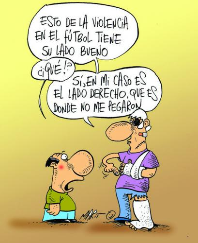 Cartoon: VIOLENCIA EN EL FUTBOL (medium) by Mario Almaraz tagged accidentado