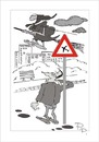 Cartoon: Traffic sign (small) by paraistvan tagged traffic sign flight motherinlaw broom