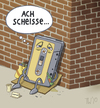 Cartoon: ... (small) by Tobias Wieland tagged kassette,obdachlos,arbeitslos,mauer,tape,penner,spende
