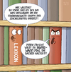 Cartoon: ... (small) by Tobias Wieland tagged buch bücher bücherregal regal bibliothek seegurke lexikon wikipedia