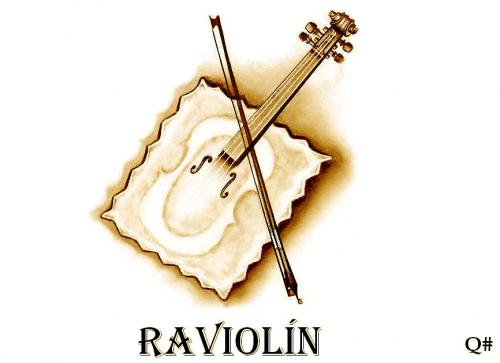 Cartoon: RAVIOLIN (medium) by QUIM tagged ravioli,,illustration,ravioli,violine,nudeln,pasta,teigware,teig,instrument,musik,saiteninstrument