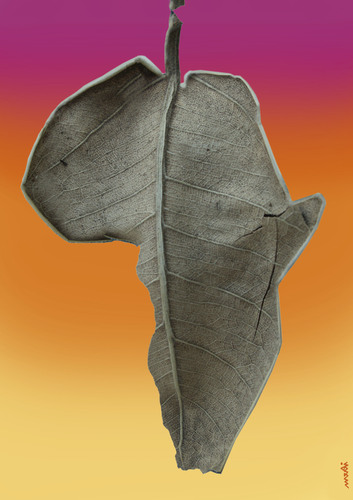 Cartoon: africa (medium) by Medi Belortaja tagged leaves,leaf,africa,drying,poor,poverty,hunger,hungry