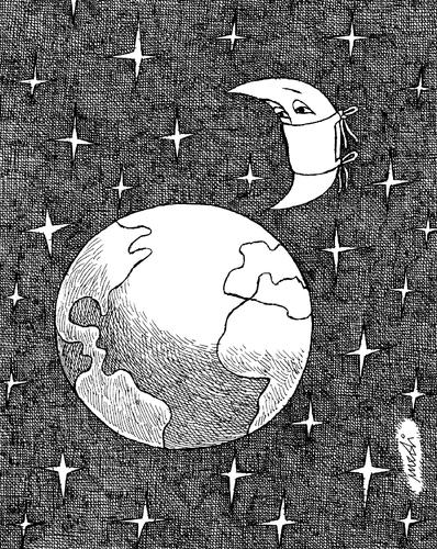 Cartoon: moon salvation (medium) by Medi Belortaja tagged pollution,epidemics,salvation,moon,earth,illness