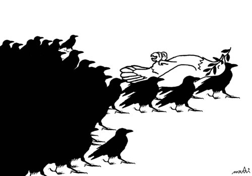 Cartoon: peaces funeral (medium) by Medi Belortaja tagged peaces,funeral,colombo,pigeon,burial,death,dead,war,raven,ravens