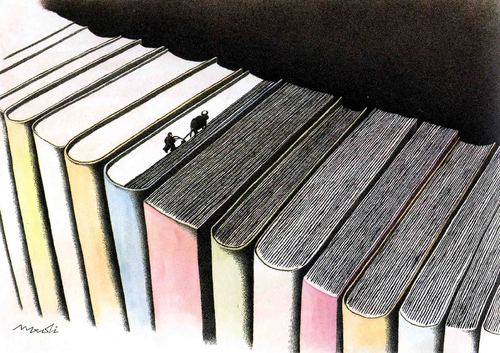 Cartoon: plowing books (medium) by Medi Belortaja tagged bibliotheque,book,books,plowing