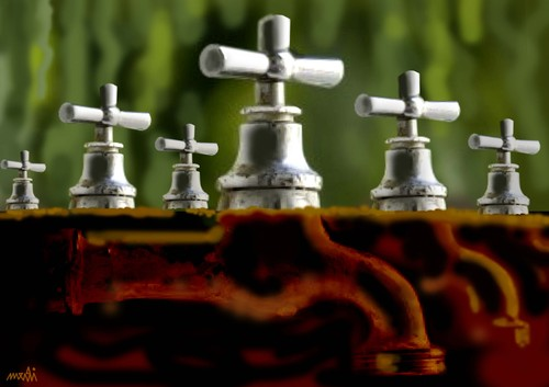 Cartoon: taps of the dead (medium) by Medi Belortaja tagged environment,water,dead,the,of,taps