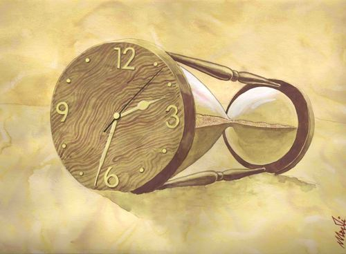 Cartoon: transformation (medium) by Medi Belortaja tagged hourglass,clock,transformation