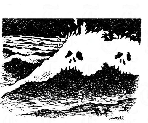 tsunami de Medi Belortaja | Naturaleza Cartoon | TOONPOOL