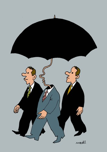 Cartoon: umbrellaman (medium) by Medi Belortaja tagged umbrella,man,chief,leader,bodyguards,servants,politics,bussines,raining,face,toutelage