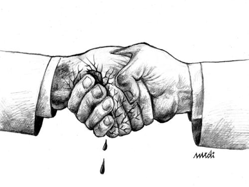 Cartoon: shaking hands (medium) by Medi Belortaja tagged hands,shaking,blood,cracked,handshake