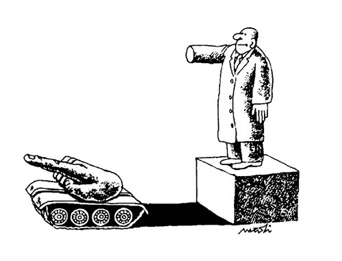 Cartoon: ideology and reality (medium) by Medi Belortaja tagged occupation,dictators,sign,direction,ideology,monument