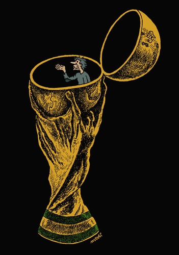 Cartoon: world cup (medium) by Medi Belortaja tagged brazil,football,soccer,beggary,beggar,poverty,poor,cup,world