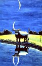 Cartoon: cow reflection in lake (small) by Medi Belortaja tagged cow,horns,moon,night,water