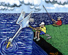 Cartoon: fishing (small) by Medi Belortaja tagged fishing,fisherman,fish,bird