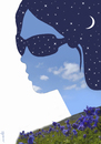 Cartoon: spring s night glasses (small) by Medi Belortaja tagged night,glasses,sky,face,woman,women,girl,moon,stars,spring,flowers
