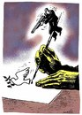 Cartoon: ready to kills pigeon (small) by Medi Belortaja tagged freedom,writer,kills,pigeon,dove,colombo,press,speech