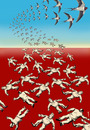 Cartoon: terns of freedom (small) by Medi Belortaja tagged terns,dictator,dictators,dictatorship,arab,spring,martyr,martyrs,swallow,birds,revolt,protest,democracy,freedom