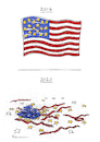 Cartoon: Trumpled (small) by Riemann tagged american,flag,star,spangled,banner,usa,trump,president,democracy,destruction,hate,rift,division,divided,flagge,zerstoerung,riss,volk,people,hass,teilung,cartoon,george,riemann