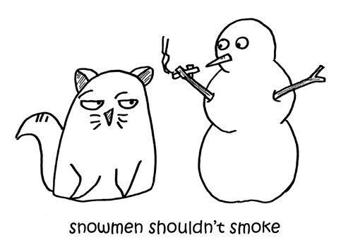 Cartoon: One Cats Thoughts (medium) by DebsLeigh tagged cat,kitty,feline,thoughts,pet,animal,snowman,snowmen