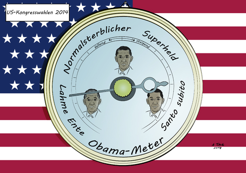 Cartoon: Obama-Meter (medium) by A Tale tagged barack,obama,präsident,usa,wahlen,kongresswahlen,senat,repräsentantenhaus,demokraten,republikaner,popularität,stimmungstief,barometer,karikatur,barack,obama,präsident,usa,wahlen,kongresswahlen,senat,repräsentantenhaus,demokraten,republikaner,popularität,stimmungstief,barometer,karikatur