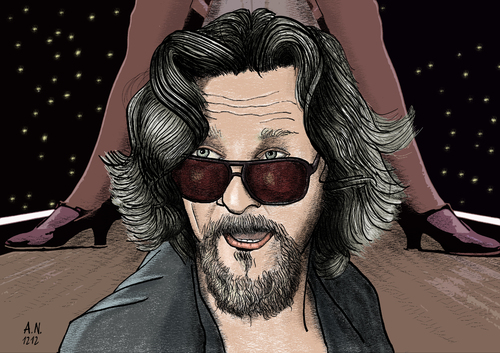 Cartoon: The Dude (medium) by A Tale tagged portrait,actor,schauspieler,brothers,coen,movie,film,lebowski,big,dude,bridges,jeff