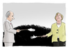 Cartoon: Berührungsängste (small) by A Tale tagged angela,merkel,wladimir,putin,bundeskanzlerin,russland,ukraine,konflikt,streit,krise,annexion,krim,dday,treffen,diplomatie,annaeherung,gespraeche,sanktionen,verhaeltnis,gestoert,frostig,handshake,haende,geben,karikatur,politik