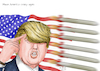 Cartoon: Make America crazy again (small) by A Tale tagged usa,präsident,donald,trump,amerika,raketanangriffe,muskelspiele,drohungen,nordkorea,kim,jong,un,eskalation,raketen,marschflugkörper,aggressive,außenpolitik,kalter,krieg,provokation,politik,karikatur,cartoon,tale,agostino,natale