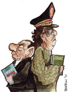 Cartoon: the summit (small) by matteo bertelli tagged gheddafi,berlusconi,bertelli,libia,italy