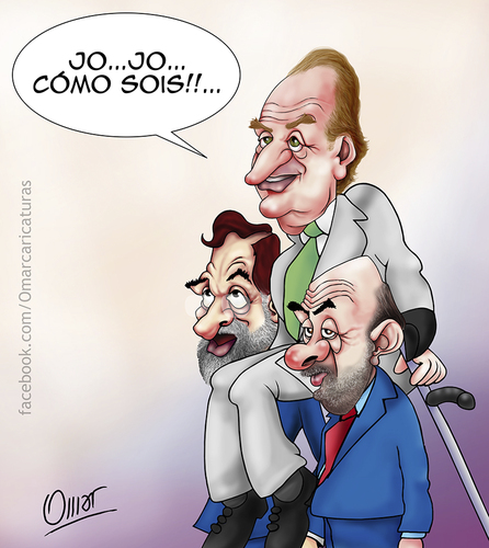Cartoon: apoyo (medium) by riva tagged rey,juan,carlos,rajoy,rubalcaba,monarquia,abdicacion