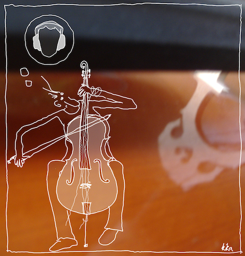 Cartoon: Cellist (medium) by kika tagged cellist,cello,ohrenschmerzen,gehörschutz,klassik,lernen,cellounterricht,cellolehrer
