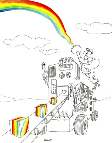 Cartoon: Rainbow production (medium) by Raed Al-Rawi tagged production,rainbow