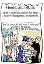 Cartoon: 8. Oktober (small) by chronicartoons tagged dauerwelle,elektrischer,stuhl,hinrichtung,friseur,strom,cartoon