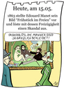 Cartoon: 15.Mai (small) by chronicartoons tagged manet bad frühstück im freien museum kunst ausstellung impressionismus cartoon