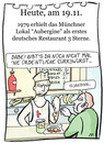 Cartoon: 19. November (small) by chronicartoons tagged currywurst,wurstbude,3sterne,restaurant,aubergine,cartoon
