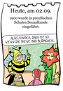 Cartoon: 2. September (small) by chronicartoons tagged sex sexualkunde aufklärung blume biene schule cartoon