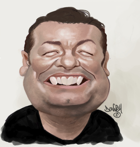 Cartoon: Ricky Gervais (medium) by Darrell tagged ricky,gervais