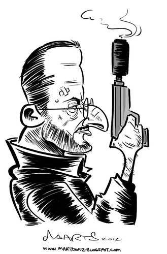 Cartoon: Jean Reno (medium) by Martynas Juchnevicius tagged jean,reno,french,actor,star,film,caricature,movie