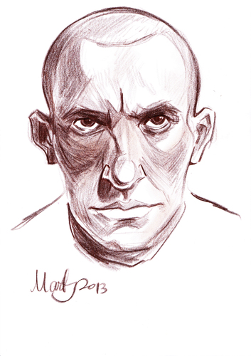 Cartoon: Mayakovsky (medium) by Martynas Juchnevicius tagged sketch,caricature,pencil,mayakovsky,writer,poet,russian,literature,soviet,futurist,drawing