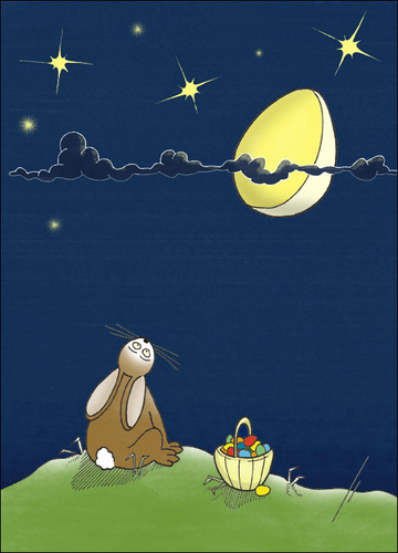 Cartoon: Moonstruck (medium) by badham tagged badham,hase,animals,animal,osterhase,bunny,easter,ostern