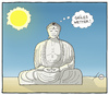 Cartoon: Buddhas smile (small) by badham tagged buddha,wetter,sonne,religion,sommer,badham