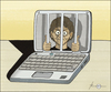 Cartoon: Press Enter to release... (small) by badham tagged computer,art,crisis,man,prison,notebook,labtop,new,media,badham,internet