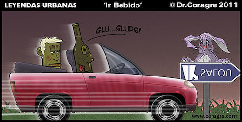 Cartoon: Leyendas Urbanas - Ir Bebido (medium) by DrCoragre tagged digital,drawing,strip,comic,tira,humor