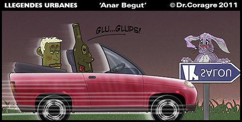 Cartoon: Llegendes Urbanes- Anar Begut (medium) by DrCoragre tagged digital,drawing,strip,comic,tira,catalan,catala,humor