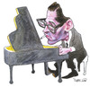 Cartoon: Bill Evans (small) by Ricardo Soares tagged jazz,music
